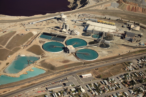 An aerial view of a water treatment facility at an industrial plant.